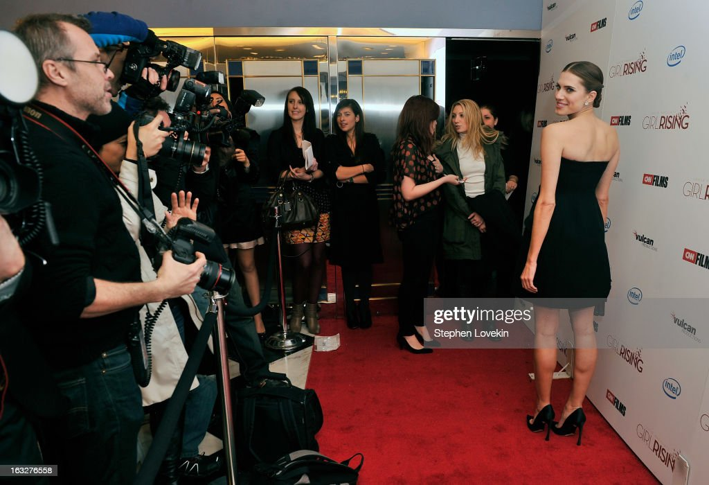 Actress <a gi-track='captionPersonalityLinkClicked' href=/galleries/search?phrase=Allison+Williams+-+Actress&family=editorial&specificpeople=594198 ng-click='$event.stopPropagation()'>Allison Williams</a> attends the 'Girl Rising' premiere at The Paris Theatre on March 6, 2013 in New York City.
