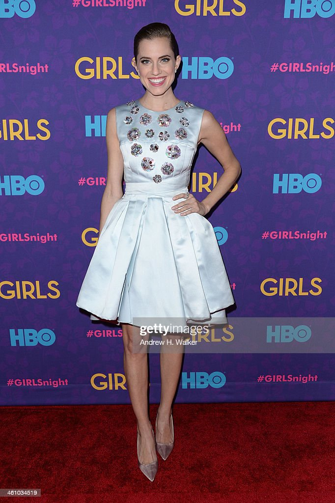 Actress <a gi-track='captionPersonalityLinkClicked' href=/galleries/search?phrase=Allison+Williams+-+Actress&family=editorial&specificpeople=594198 ng-click='$event.stopPropagation()'>Allison Williams</a> attends the 'Girls' season three premiere at Jazz at Lincoln Center on January 6, 2014 in New York City.