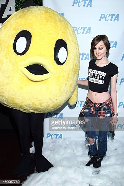 Actress Allisyn Arm attends the flocks of rescued chickens to get holiday treats from celebrities at PETA/Animal Place Chicken Adoption Event held at...