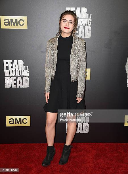 Actress Ally Ioannides arrives at the Premiere Of AMC's 'Fear The Walking Dead' Season 2 at Cinemark Playa Vista on March 29 2016 in Los Angeles...