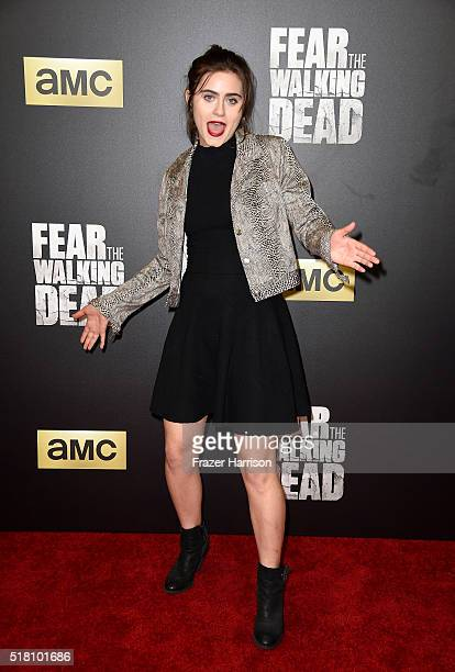 Actress Ally Ioannides attends the premiere of AMC's 'Fear The Walking Dead' Season 2 at Cinemark Playa Vista on March 29 2016 in Los Angeles...