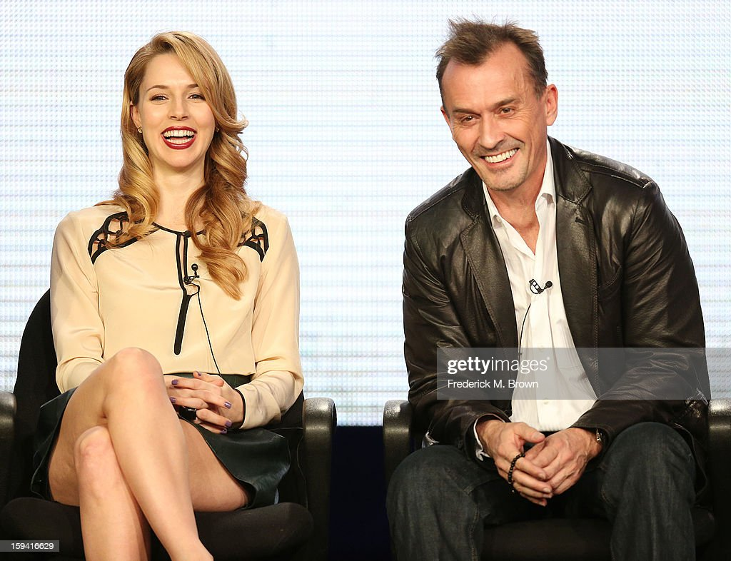 Actress Alona Tal (L) and actor <a gi-track='captionPersonalityLinkClicked' href=/galleries/search?phrase=Robert+Knepper&family=editorial&specificpeople=630261 ng-click='$event.stopPropagation()'>Robert Knepper</a> of the television show 'Cult' speak during the CW Network portion of the 2013 Winter Television Critics Association Press Tour at the Langham Huntington Hotel & Spa on January 13, 2013 in Pasadena, California.