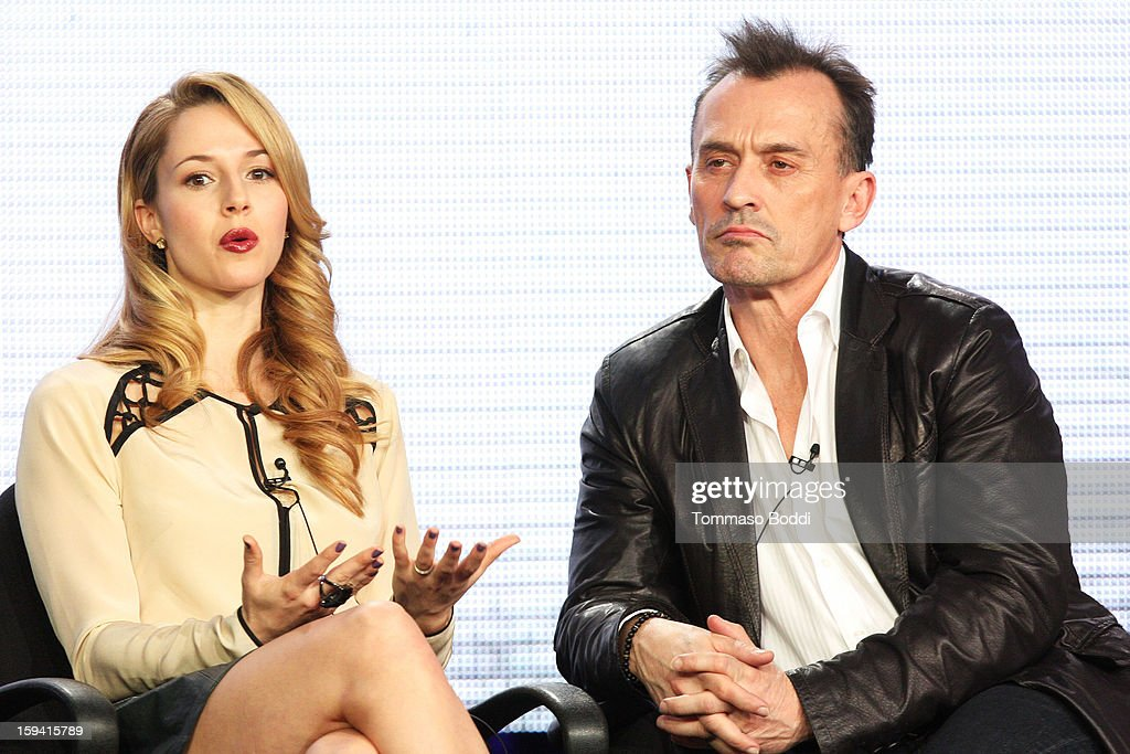 Actress Alona Tal (L) and actor Robert Knepper of the TV show 'Cult' attend the 2013 TCA Winter Press Tour CW/CBS panel held at The Langham Huntington Hotel and Spa on January 13, 2013 in Pasadena, California.