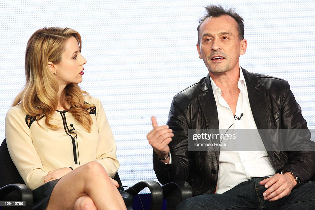 Actress Alona Tal (L) and actor <a gi-track='captionPersonalityLinkClicked' href=/galleries/search?phrase=Robert+Knepper&family=editorial&specificpeople=630261 ng-click='$event.stopPropagation()'>Robert Knepper</a> of the TV show 'Cult' attend the 2013 TCA Winter Press Tour CW/CBS panel held at The Langham Huntington Hotel and Spa on January 13, 2013 in Pasadena, California.
