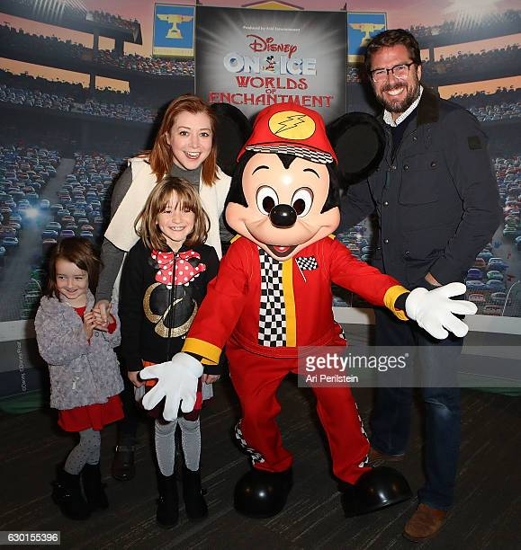 Actress Alyson Hannigan and family attend Disney On Ice Presents Worlds Of Enchantment Celebrity Guests at Staples Center on December 17 2016 in Los...