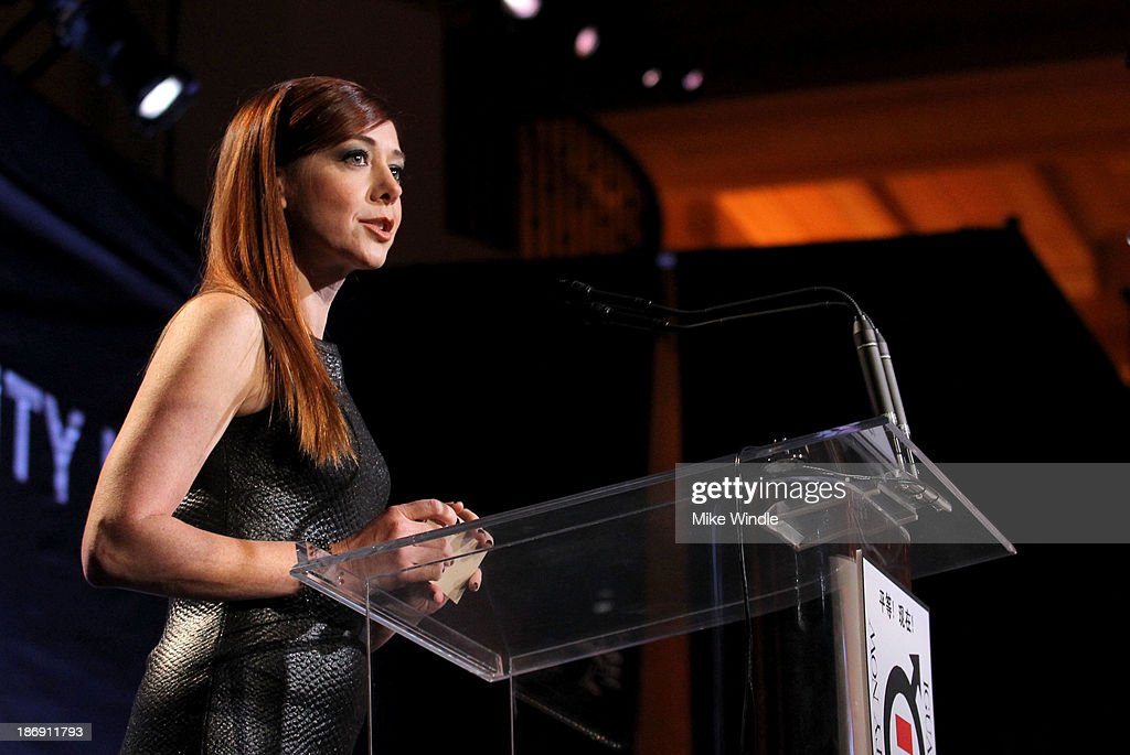 Actress Alyson Hannigan speaks onstage at Equality Now presents 'Make Equality Reality' at Montage Hotel on November 4, 2013 in Los Angeles, California.