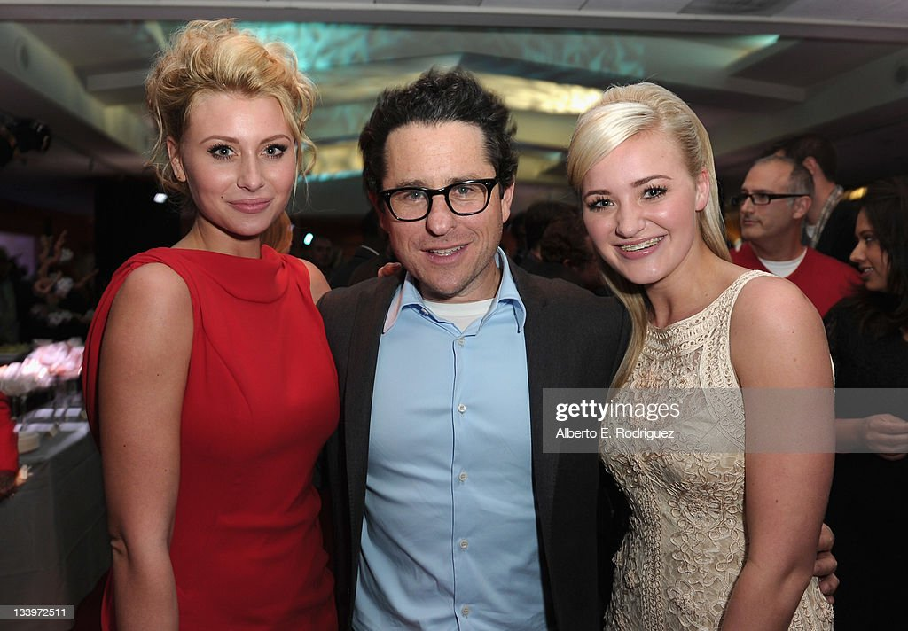 Actress Alyson Michalka, Director/Writer J.J. Abrams and actress Amanda Michalka attend Paramount Pictures' 'Super 8' Blu-ray and DVD release party at AMPAS Samuel Goldwyn Theater on November 22, 2011 in Beverly Hills, California.