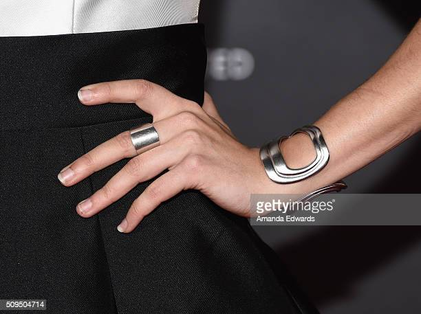 Actress Alyson Stoner jewelry detail arrives at the premiere of 'A Trip To Unicorn Island' at TCL Chinese Theatre on February 10 2016 in Hollywood...