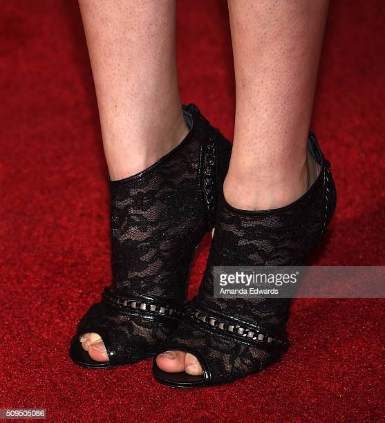 Actress Alyson Stoner shoe detail arrives at the premiere of 'A Trip To Unicorn Island' at TCL Chinese Theatre on February 10 2016 in Hollywood...