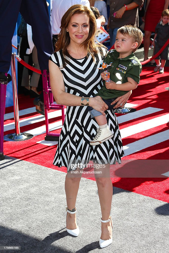Actress Alyssa MIlano and her son, Milo Thomas Bugliari, attend the premiere of Disney's 'Planes' at the El Capitan Theatre on August 5, 2013 in Hollywood, California.