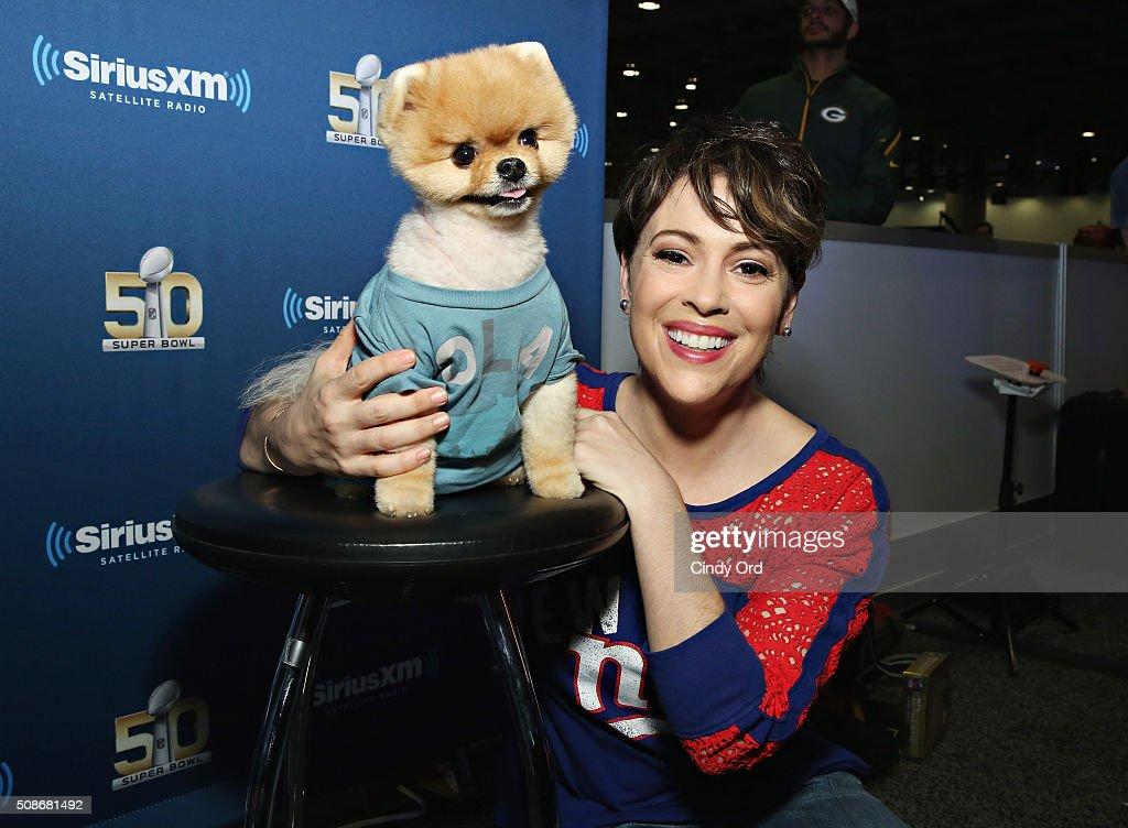 Actress Alyssa Milano and Jiffpom visit the SiriusXM set at Super Bowl 50 Radio Row at the Moscone Center on February 5, 2016 in San Francisco, California.