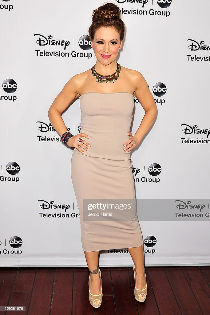 Actress <a gi-track='captionPersonalityLinkClicked' href=/galleries/search?phrase=Alyssa+Milano&family=editorial&specificpeople=203329 ng-click='$event.stopPropagation()'>Alyssa Milano</a> arrives at Disney ABC Television's red carpet gala at the Langham Huntington Hotel and Spa on January 10, 2013 in Pasadena, California.