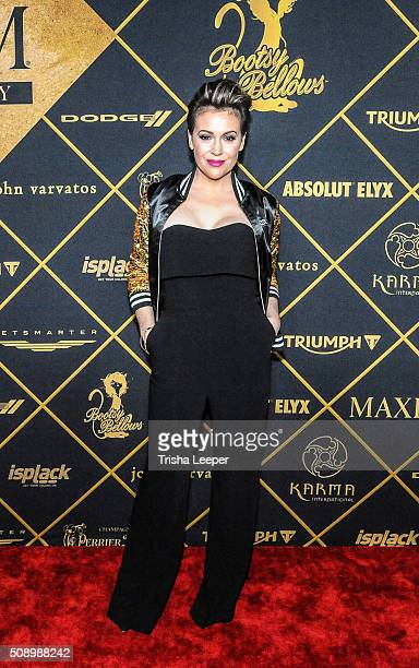 Actress Alyssa Milano arrives at Maxim Magazine And Bootsy Bellows Super Bowl Party 2016 at Treasure Island on February 6 2016 in San Francisco...