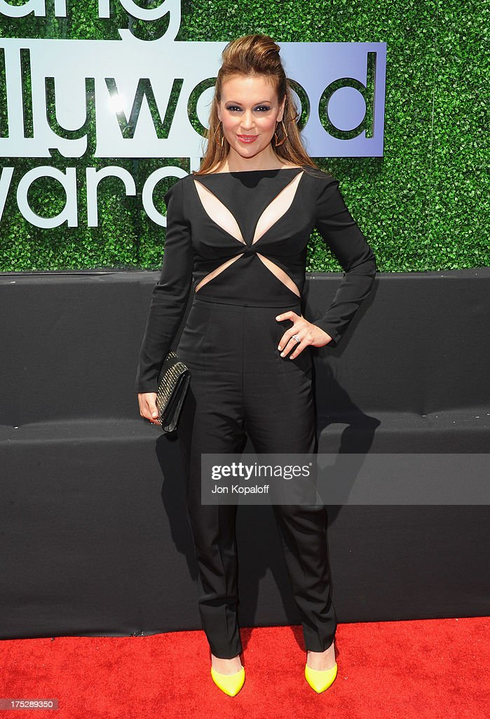 Actress <a gi-track='captionPersonalityLinkClicked' href=/galleries/search?phrase=Alyssa+Milano&family=editorial&specificpeople=203329 ng-click='$event.stopPropagation()'>Alyssa Milano</a> arrives at the 15th Annual Young Hollywood Awards at The Broad Stage on August 1, 2013 in Santa Monica, California.
