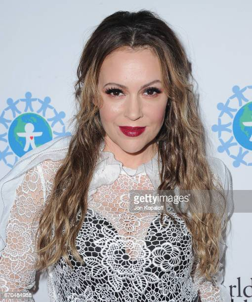 Actress Alyssa Milano arrives at the 2017 World Of Children Hero Awards at Montage Beverly Hills on April 19 2017 in Beverly Hills California