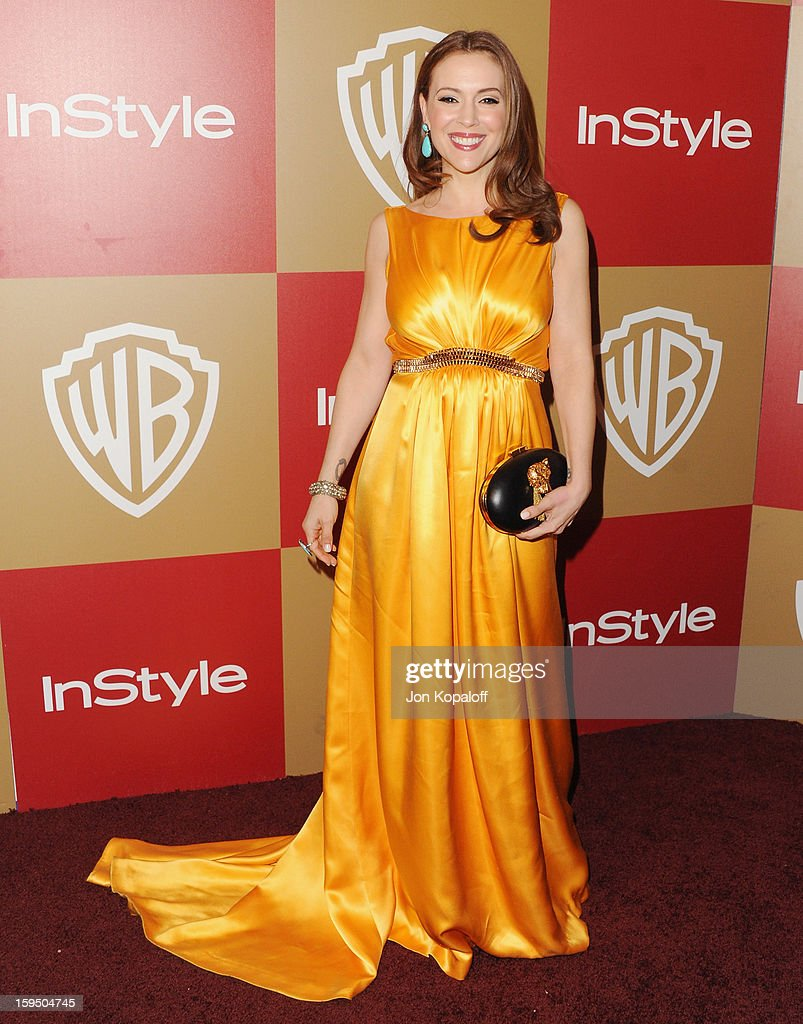 Actress Alyssa Milano arrives at the InStyle And Warner Bros. Golden Globe Party at The Beverly Hilton Hotel on January 13, 2013 in Beverly Hills, California.