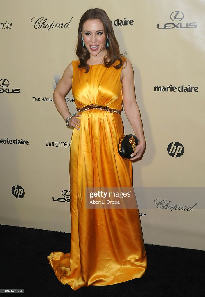 Actress Alyssa Milano arrives for the Weinstein Company's 2013 Golden Globe Awards After Party - Arrivals on January 13, 2013 in Beverly Hills, California.