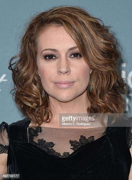 Actress Alyssa Milano arrives to the 2014 UNICEF Ball Presented by Baccarat at the Regent Beverly Wilshire Hotel on January 14 2014 in Beverly Hills...