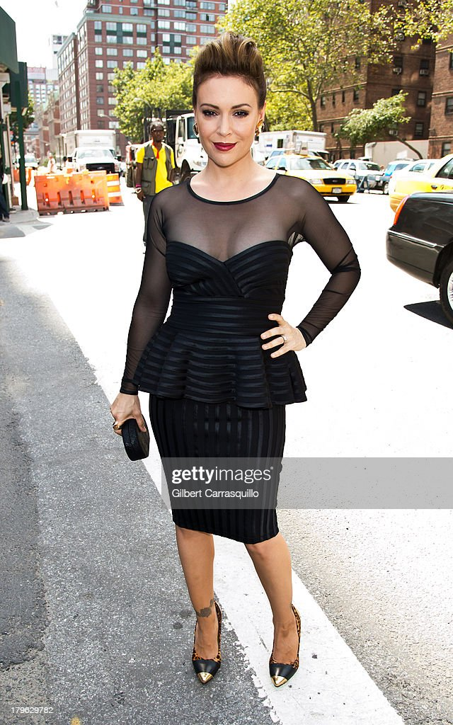 Actress <a gi-track='captionPersonalityLinkClicked' href=/galleries/search?phrase=Alyssa+Milano&family=editorial&specificpeople=203329 ng-click='$event.stopPropagation()'>Alyssa Milano</a> attends 2014 Mercedes-Benz Fashion Week during day 1 on September 5, 2013 in New York City.