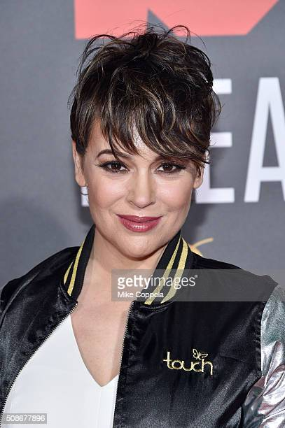 Actress Alyssa Milano attends Bleacher Report's 'Bleacher Ball' presented by go90 at The Mezzanine prior to Sunday's big game on February 5 2016 in...
