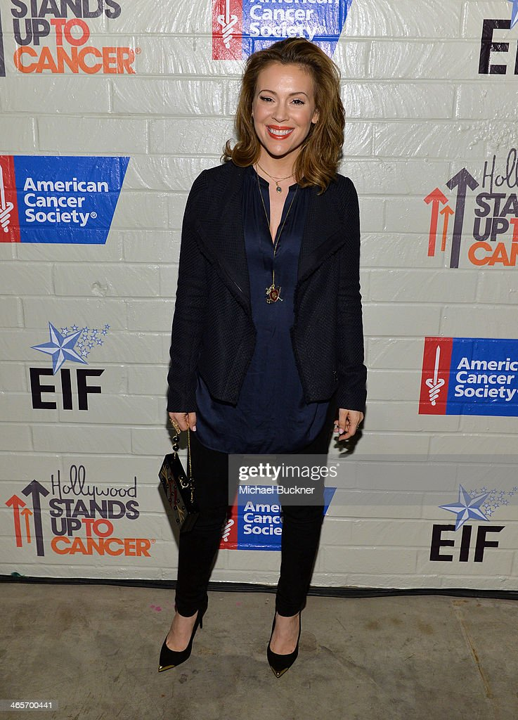 Actress <a gi-track='captionPersonalityLinkClicked' href=/galleries/search?phrase=Alyssa+Milano&family=editorial&specificpeople=203329 ng-click='$event.stopPropagation()'>Alyssa Milano</a> attends Hollywood Stands Up To Cancer Event with contributors American Cancer Society and Bristol Myers Squibb hosted by Jim Toth and Reese Witherspoon and the Entertainment Industry Foundation on Tuesday, January 28, 2014 in Culver City, California.