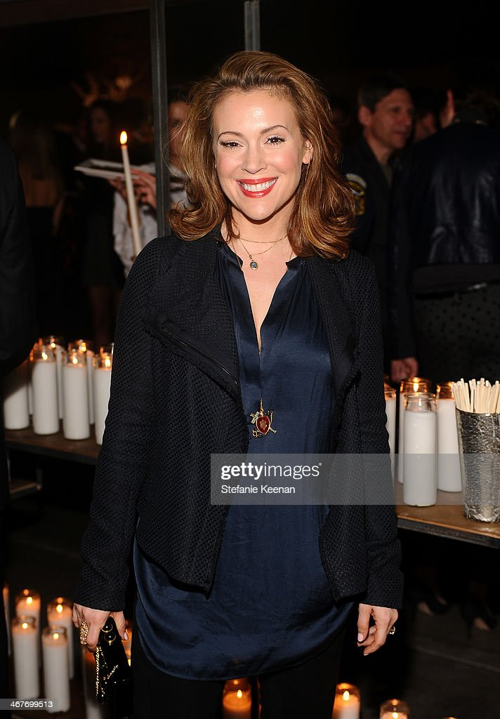 Actress Alyssa Milano attends Hollywood Stands Up To Cancer Event with contributors American Cancer Society and Bristol Myers Squibb hosted by Jim Toth and Reese Witherspoon and the Entertainment Industry Foundation on Tuesday, January 28, 2014 in Culver City, California.