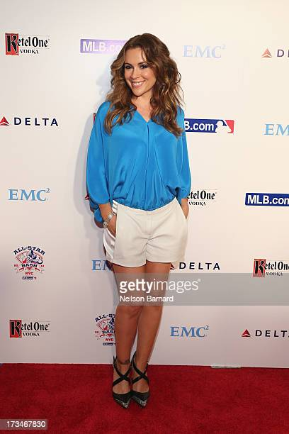 Actress Alyssa Milano attends Major League Baseball's All Star Bash presented by MLBcom Delta and Nivea at Roseland Ballroom on July 14 2013 in New...