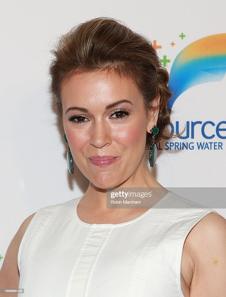 Actress <a gi-track='captionPersonalityLinkClicked' href=/galleries/search?phrase=Alyssa+Milano&family=editorial&specificpeople=203329 ng-click='$event.stopPropagation()'>Alyssa Milano</a> attends Natural Spring Water Resource Launch Event at Pier 36 on June 5, 2013 in New York City.