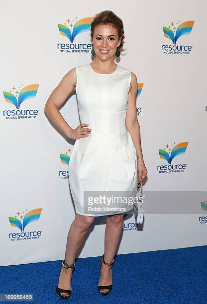 Actress Alyssa Milano attends Natural Spring Water Resource Launch Event at Pier 36 on June 5 2013 in New York City