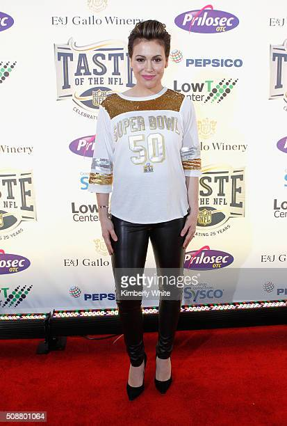 Actress Alyssa Milano attends Taste of the NFL 25th anniversary Party With A Purpose at Cow Palace on February 6 2016 in San Francisco California