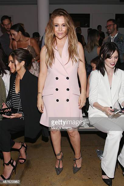 Actress Alyssa Milano attends the Marissa Webb fashion show during Spring 2016 MADE Fashion Week at Milk Studios on September 10 2015 in New York City
