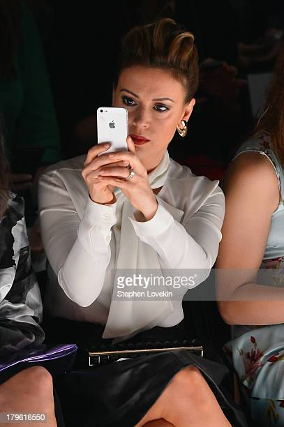 Actress Alyssa Milano attends the Marissa Webb Spring 2014 fashion show during MercedesBenz Fashion Week at The Studio at Lincoln Center on September...
