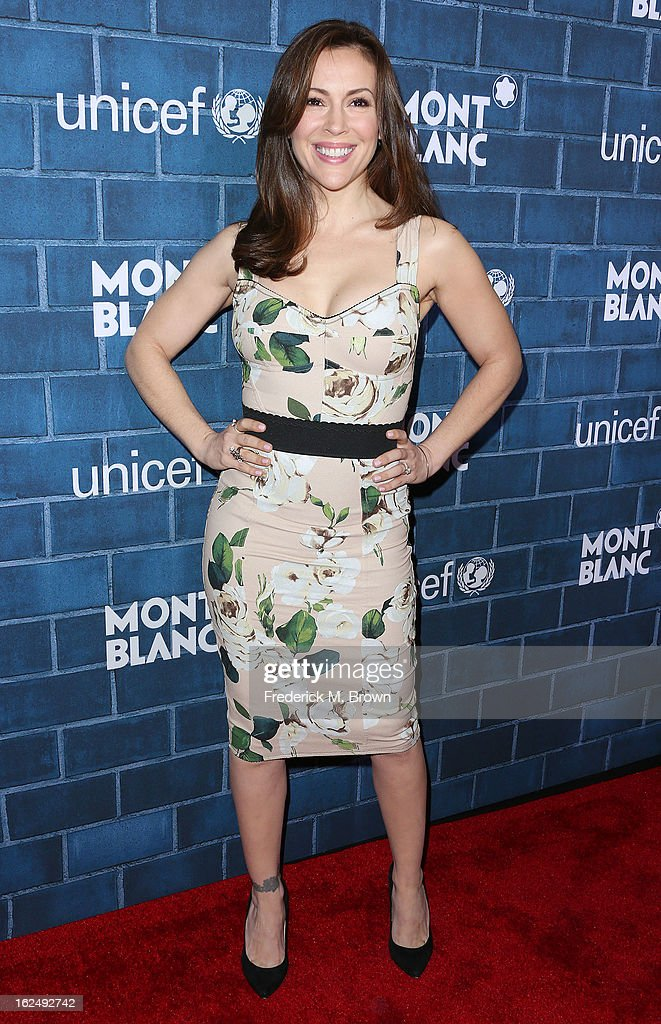 Actress Alyssa Milano attends the Montblanc And UNICEF Host Pre-Oscar Brunch Celebrating Their Limited Edition Collection at the Hotel Bel-Air on February 23, 2013 in Los Angeles, California.
