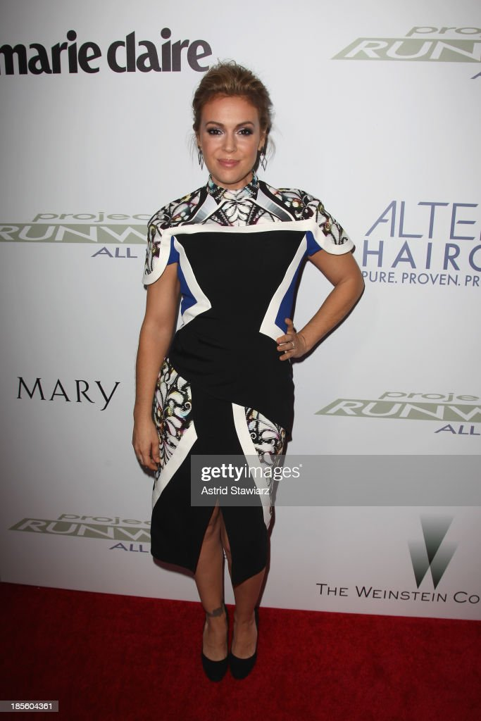 Actress <a gi-track='captionPersonalityLinkClicked' href=/galleries/search?phrase=Alyssa+Milano&family=editorial&specificpeople=203329 ng-click='$event.stopPropagation()'>Alyssa Milano</a> attends the Project Runway All Stars Season 3 premiere party presented by The Weinstein Company and Lifetime in partnership with Marie Claire, QVC, Mary Kay and Alterna Haircare at Hudson Common at the Hudson Hotel on October 22, 2013 in New York City.