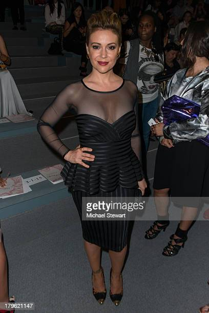 Actress Alyssa Milano attends the Tadashi Shoji show during Spring 2014 MercedesBenz Fashion Week at The Stage at Lincoln Center on September 5 2013...