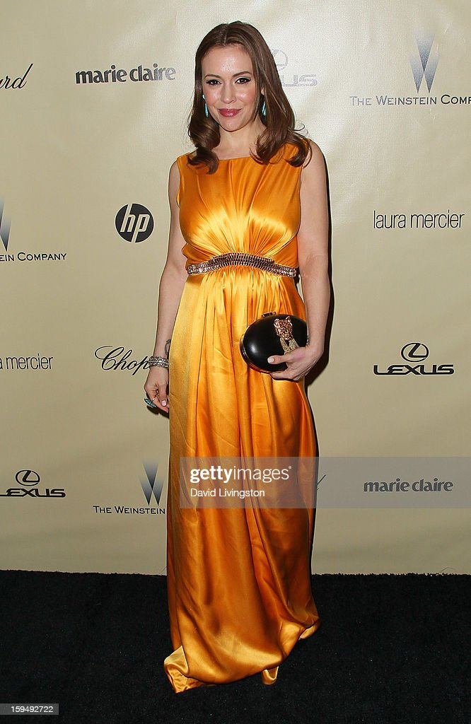 Actress Alyssa Milano attends The Weinstein Company's 2013 Golden Globe Awards After Party at The Beverly Hilton hotel on January 13, 2013 in Beverly Hills, California.