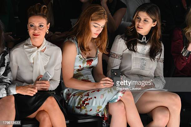 Actress Alyssa Milano Catharine Daddario and Alexandra Daddario sit front row at Marissa Webb Spring 2014 fashion show during MercedesBenz Fashion...