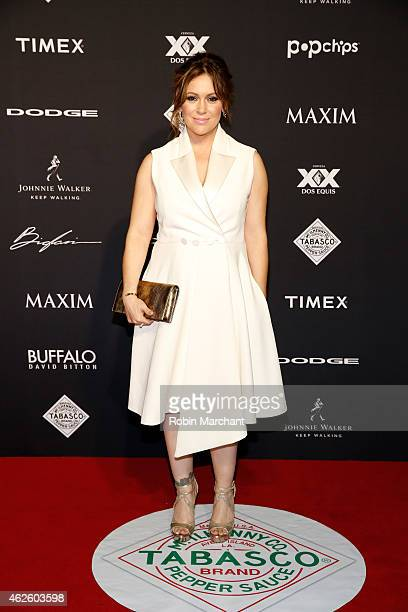Actress Alyssa Milano celebrates bold moments with Tabasco at the MAXIM Party on January 31 2015 in Phoenix Arizona