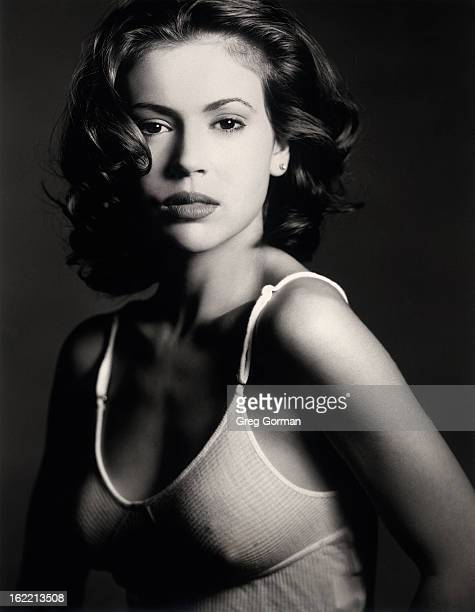 Actress Alyssa Milano is photographed for Self Assignment on January 1 1995 in Los Angeles California