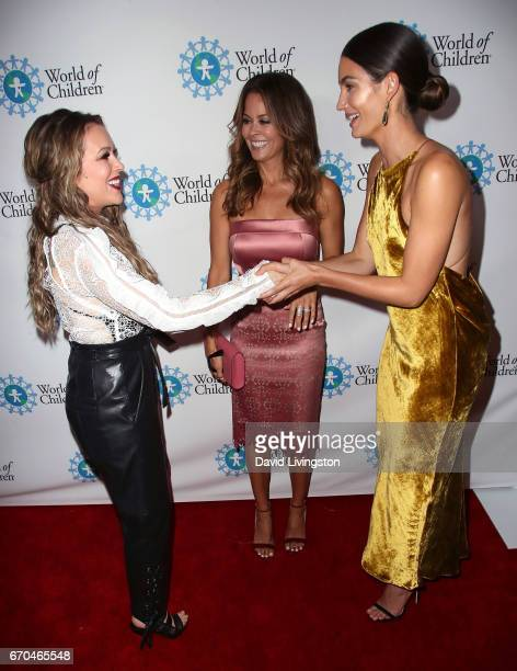 Actress Alyssa Milano TV personality Brooke BurkeCharvet and model Lily Aldridge attend the 2017 World of Children Hero Awards at Montage Beverly...