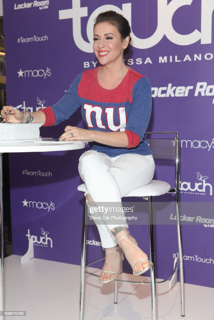Actress Alyssa Milano visits Macy's Herald Square on August 23, 2017 in New York City.