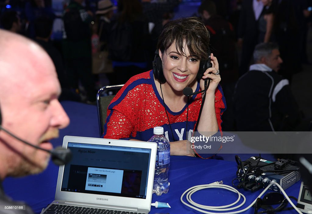 Actress <a gi-track='captionPersonalityLinkClicked' href=/galleries/search?phrase=Alyssa+Milano&family=editorial&specificpeople=203329 ng-click='$event.stopPropagation()'>Alyssa Milano</a> visits the SiriusXM set at Super Bowl 50 Radio Row at the Moscone Center on February 5, 2016 in San Francisco, California.