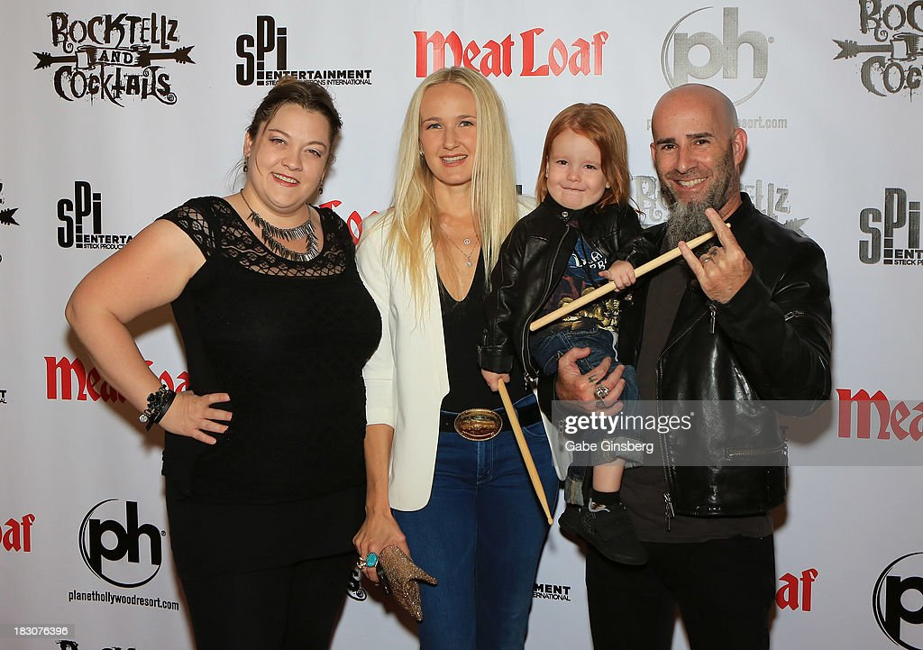 Actress Amanda Aday, singer Pearl Aday, Revel Ian and Anthrax guitarist Scott Ian arrive at the show 'RockTellz & CockTails presents Meat Loaf' at Planet Hollywood Resort & Casino on October 3, 2013 in Las Vegas, Nevada.
