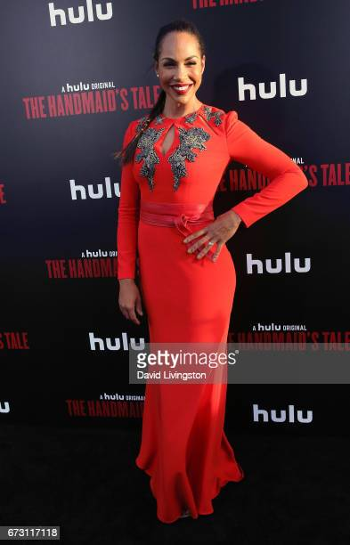 Actress Amanda Brugel attends the premiere of Hulu's 'The Handmaid's Tale' at ArcLight Cinemas Cinerama Dome on April 25 2017 in Hollywood California