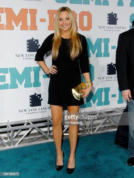 Actress Amanda Bynes arrives at the Los Angeles Premiere 'SemiPro' at the Mann Village Theater on February 19 2008 in Westwood California