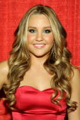 Actress Amanda Bynes poses backstage at the Heart Truth Red Dress Collection 2009 fashion show during MercedesBenz Fashion Week at The Tent in Bryant...