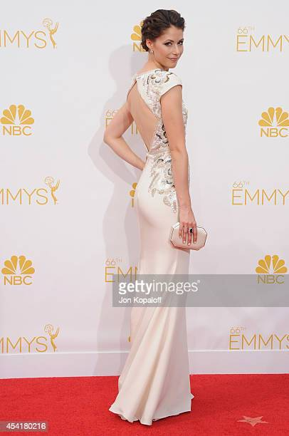 Actress Amanda Crew arrives at the 66th Annual Primetime Emmy Awards at Nokia Theatre LA Live on August 25 2014 in Los Angeles California