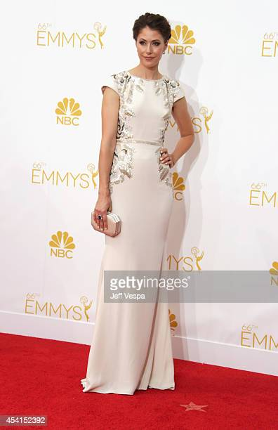 Actress Amanda Crew attends the 66th Annual Primetime Emmy Awards held at Nokia Theatre LA Live on August 25 2014 in Los Angeles California