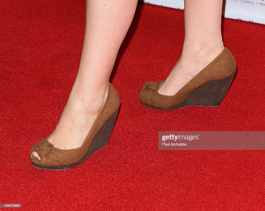 Actress Amanda Fuller (Shoe Detail) attends the LA Art Show opening night party at Los Angeles Convention Center on January 23, 2013 in Los Angeles, California.