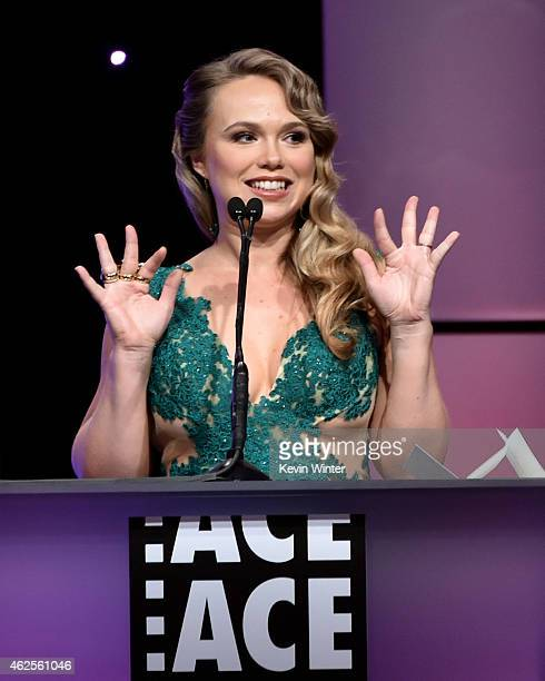 Actress Amanda Fuller speaks onstage at the 65th Annual ACE Eddie Awards at the Beverly Hilton Hotel on January 30 2015 in Beverly Hills California